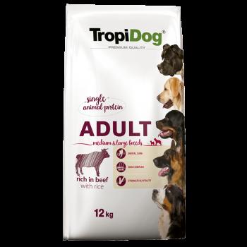 TropiDog Premium Adult M&L BEEF & Rice 12kg