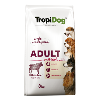 TropiDog Premium Adult Small Breeds rich in BEEF with...