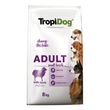 TropiDog Premium Adult Small Breeds with LAMB & rice - 8kg