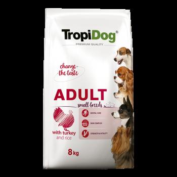 TropiDog Premium Adult Small Breeds with TURKEY & rice 8kg