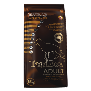 TropiDog Adult M&L Breeds - Rich in LAMB with rice 15kg