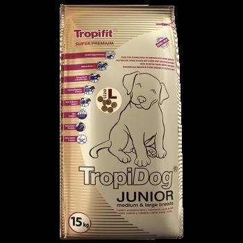 TropiDog JUNIOR M&L Breeds TURKEY,SALMON & EGGS size L 15kg